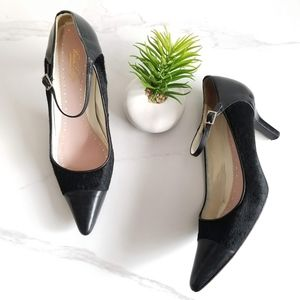 Brooks Brothers Black Calf Hair Mary Jane Pumps